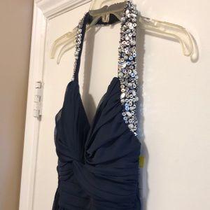🔵Navy Blue Sequin Halter Maxi Dress